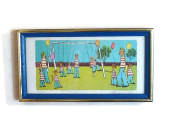 Children Room Decor, Signed Lithograph by Patty Hendricks, Children at a Play Ground on a Swing, in a 1970 Frame ready to be hung