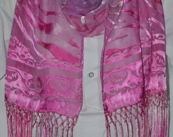 "Ice Dyed Satin Devore Scarf in Pinks and Mauves (147cm x 33cm  (58""x13"") plus 18cm (7"") fringe"