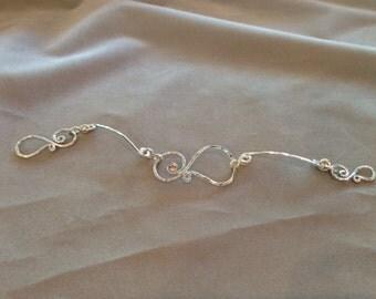 Signature Swirl with Sidebars February Stone Bracelet, Handcrafted Jewelry