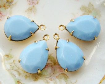 Opaque 15x11mm Pale Blue Faceted Teardrop Pear Glass Jewels, Stones, Rhinestones in 1 Ring Brass Drop Settings - 2