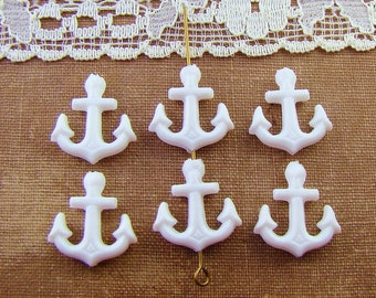 Opaque White Acrylic Anchor Beads Charms Vintage Plastic 16mm - 6