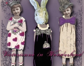 Victorienne in Wonderland - Alice in Wonderland Digital Paper Dolls - Instant Download - Through the Looking Glass
