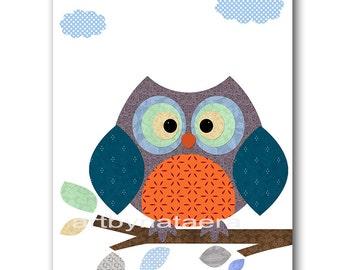 Owl Nursery Art Childrens Art Kids Wall Art Baby Boy Room Decor Baby Boy Nursery Decor Kids Art Baby Nursery print orange gray