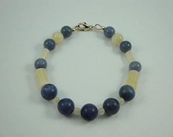 Natural Blue Aventurine, Aragonite, Cream Quartz 7in Bracelet Item #42