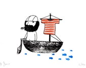 UTOPIA - gocco screen print boat - limited edition