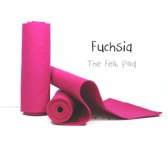 Wool Felt Roll - 100% Wool Felt in color FUCSHIA - Pink Wool Felt - 100 Percent Wool