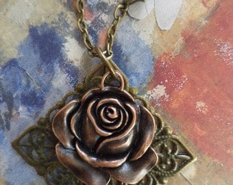 Wine And Roses A Victorian Rose  Mixed Media Necklace On Etsy Free Shipping U S Only