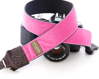The Zoe Velvet Camera Strap with Quick Release Buckles -- 1.5 inches wide