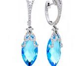 14K White Gold Victorian Design Diamond and Blue Topaz Winter Wonderland Dangling Drop Earrings