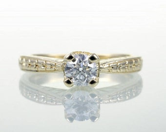 CLEARANCE Yellow Gold Diamond Solitaire Engagement Wedding Ring