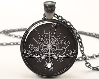 Halloween Necklace, Spider Web Pendant, Spooky Black Goth Jewelry (1707G1IN)
