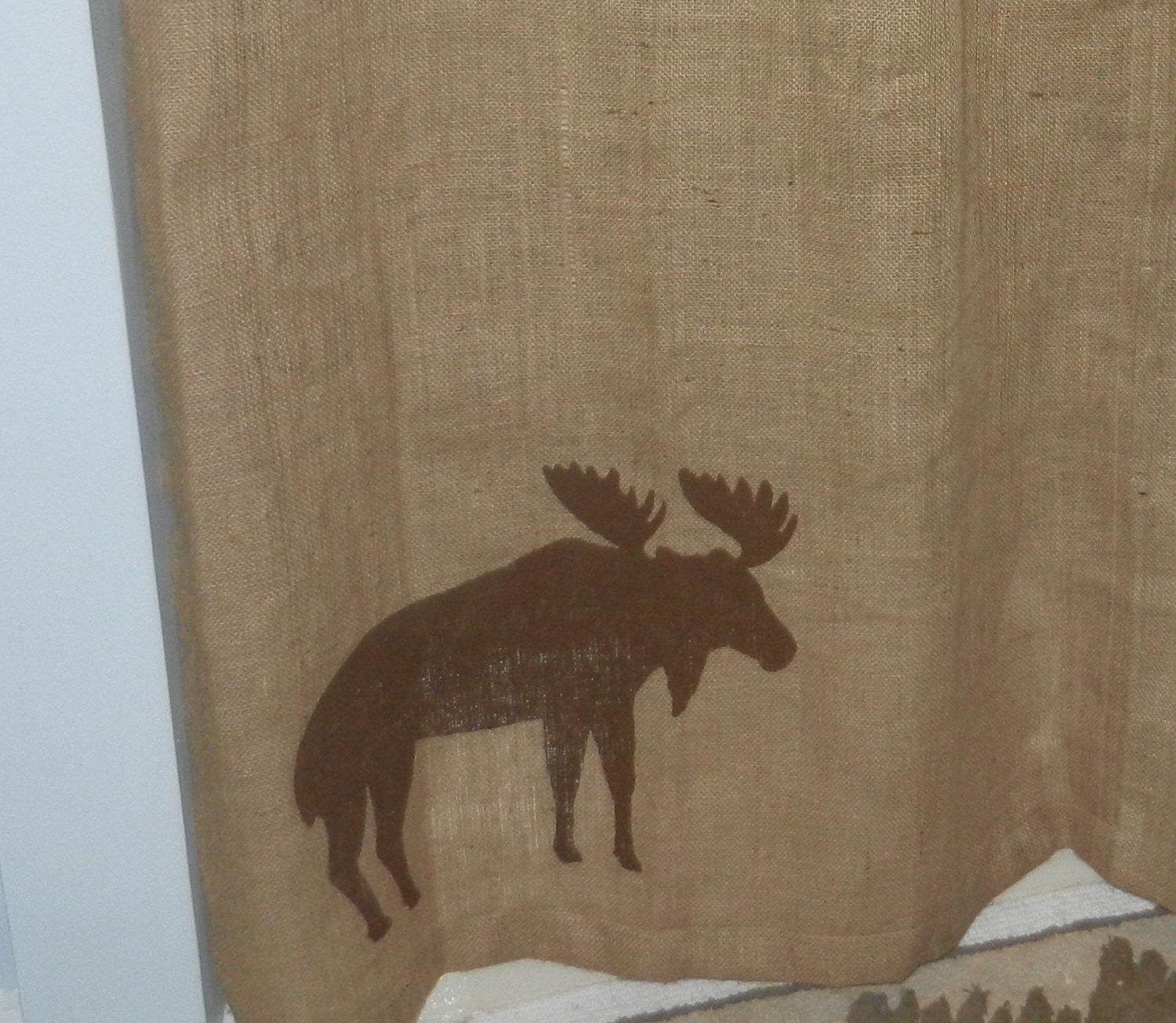 Burlap moose shower curtain 72 x 72 by craftyamour on etsy