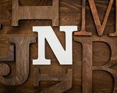 Wooden alphabet letters - N white distressed decorative letter modern home decor for wall custom colors wood art sign alphabet name quote