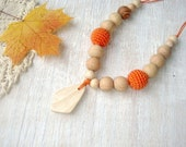 Nursing Teething  with teether  necklace Orange Autumn Ready to ship - black friday sale