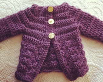 Grape Purple Baby Girl Sweater with Buttery Yellow Buttons, size 0-3 months.