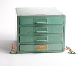 RESERVED for aninab Vintage metal tool drawers chest – Simonsen Chicago Industrial storage – tools parts drawers green metal cabinet