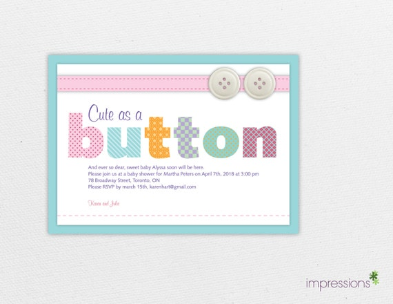 cute as a button invitation button baby shower invitation baby