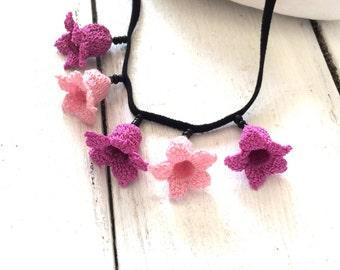 Leather Choker, Flower Choker, Crochet Necklace, Beaded Collar, Statement Necklace, Boho Bib Necklace, Lilac Oya Bellflower, Crochet Jewelry