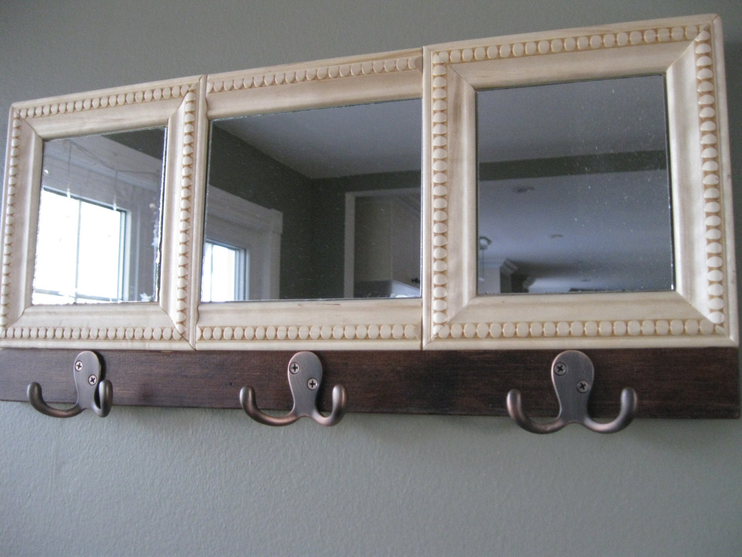 wall mirror with hooks home decor rustic by vintagedreamshop