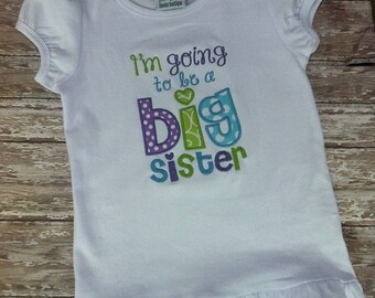 I'm Going to be a Big Sister applique ruffle tee-lavender, lime green, and aqua