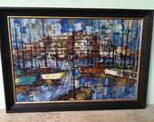 FREE Shipping LARGE Mid Century Nautical Cityscape Landscape Modern Painting Original Heavy Texture Hand Painted Wall Hanging