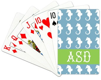 Monogrammed Playing Cards Personalized Deck of Cards Coastal Card Deck Seahorse Playing Cards
