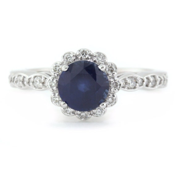 Blue Sapphire Engagement Ring Right Hand Ring 14k Gold And