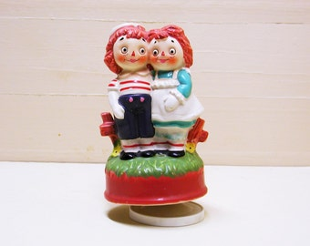 Porcelain Raggedy Ann and Andy Music Box