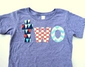 Bunting Flag Dots Chevron Nautical Sailor Ships Sweet Pirate Blend Birthday Shirt on athletic blue for two year old for 2nd Birthday
