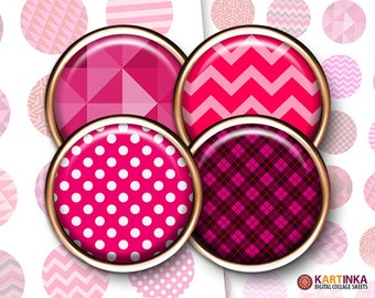 1 inch 1.5 inch PINK PATTERNS Images for Resin pendants Bottle caps Round bezel cabs Jewelry Mountings cameo settings Cabochon