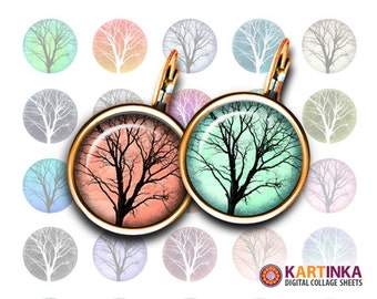 TREES - 15mm and 12mm size images Printable Digital Sheets for earrings, bezel settings, rings, cufflinks, pendants, bracelets