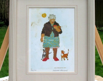Fine Art Print 'Cat Lady' by William Werrbach 1969 Whimsical Cat Lover With Her Kitties 11 x 9 Framed Sweet!