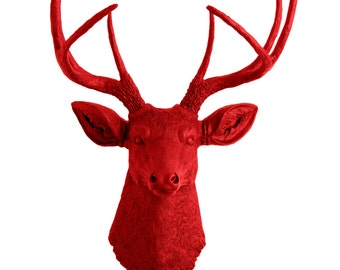Valentines Decorations - Faux Deer Head - Faux Taxidermy - The Bowen - Red Resin Deer Head- Red Deer Antlers Mounted- Faux Head Wall Mount