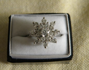 Scrumptious 14K White Gold Diamond Ring - .60 ctw and Size 6.5 U.S.