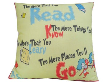 "Dr Seuss More You Read 12.5 x 12.5"" Quote Pillow"