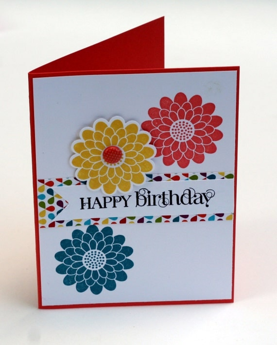 Happy Birthday notecard, flowers, Red, yellow, blue floral blank card, birthday wishes
