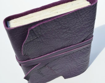 Purple Leather Bound Watercolor Journal Diary Art Notebook Custom Made to Order (325)