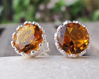 Round Citrine Stud- Yellow Topaz Earring- November Birthstone Earrings- Simple Orange Yellow Stud- Minimalist Classic Earring