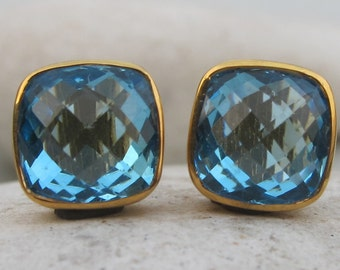 Topaz Stud- Blue Topaz Stud- Quartz Stud Earring- Stone Post Earrings- Gemstone Stud- Silver Stud Earrings- Blue Stone Stud- Stone Stud
