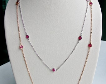 Silver Ruby Necklace- Silver Chain Necklace- Stone Necklace- Layer Necklace- Necklace by the Yard- Birthstone Necklace- Strand Necklace