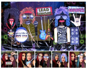 Rock Star photo booth props - perfect for your music idol legend party, to celebrate your fave classic rock band or to party like a rockstar