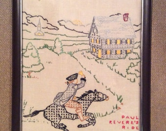 Vintage Paul Revere's Ride on Horse Back in Hand Stitch, Hand Sewn, Cross Stitch Folk Art Wall Hanging