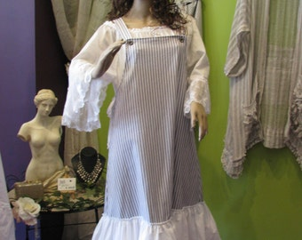 BLUE AND WHITE stripe pinafore tunic dress over dresswith white frills gypsy pearl  lagenlook  prairie