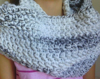 Crochet Wool Blend Infinity Scarf, Cowl Scarf, Loop Scarf -Marble- Circle Scarf, Women, Girl, Thick, Soft, Warm, Fluffy, Chunky