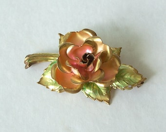 Vintage Rose Brooch Pin Brass