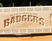Wisconsin Badgers Cribbage Board Made From White Ash