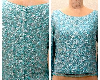 VINTAGE Celadon Shimmer, 60s Blue Long sleeve SEQUINED TOP