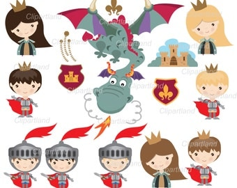 ON SALE INSTANT Download.  Knight, princess and dragon medieval clip art. Ck_27. Personal and commercial use.