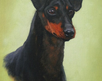 Manchester Terrier dog art print fine art limited edition art print from an original oil painting