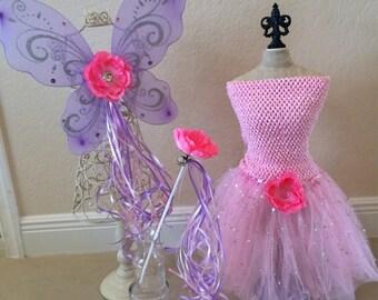Pink fairy Costume, Fairy Costume, Pink Fairy Wings, Pink Tutu, Pink Princess Costume, Princess Wands, Purple Fairy Wings, Fairy Party Favor
